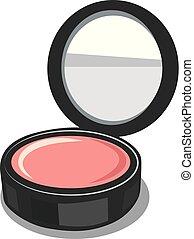 powder puff box - illustration of open make up powder puff...