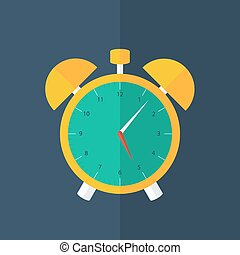 Orange alarm clock icon over blue