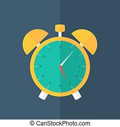 Orange alarm clock icon over blue
