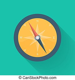Orange compass circle icon