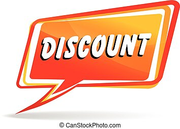 illustration of orange discount speech on white background
