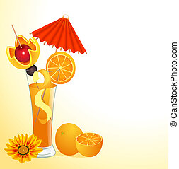 of orange juice in a glass with a flower
