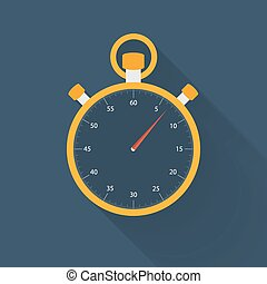Orange stopwatch icon on a blue