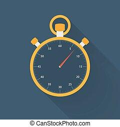 Orange stopwatch icon on a blue