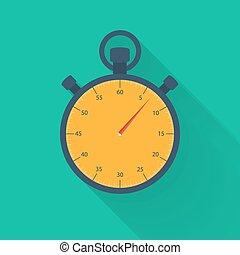 Orange stopwatch icon on a green