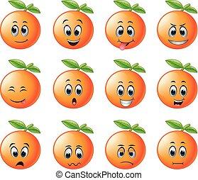 orange with different emoticon