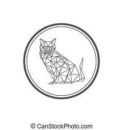 Illustration Of Origami Cat Symbol