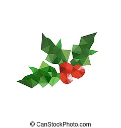 Illustration of origami christmas holly leaves