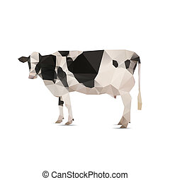 Illustration of origami cow with spots isolated on white...