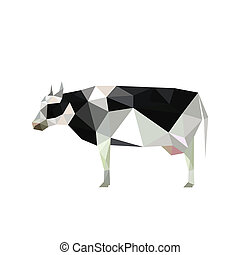 Illustration of origami cow with spots isolated on white ...
