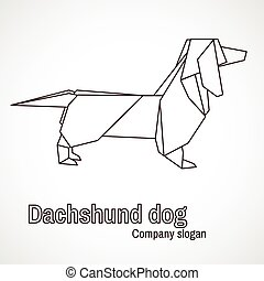 illustration of origami dog dachshund