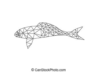 Illustration of origami fish outline