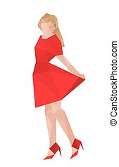 Illustration of origami girl with red dress
