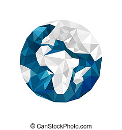 Illustration of origami globe isolated on white background