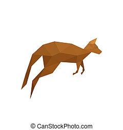 Illustration of origami kangaroo isolated on white background