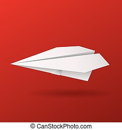 Illustration of origami paper airplane on red background