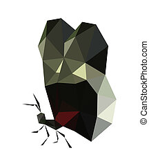 Illustration of origami red butterfly isolated on white backgrou