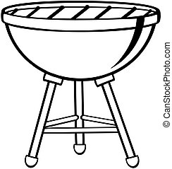 Outlined Barbecue - Illustration Of Outlined Barbecue
