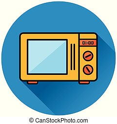 oven circle blue flat icon
