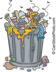Illustration of Overflowing Trashbin with Flies
