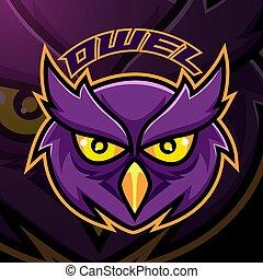 Owl head esport mascot logo design