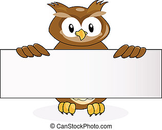owl with blank sign
