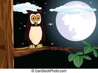 owl with the full moon