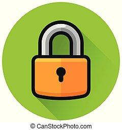 padlock circle green flat icon