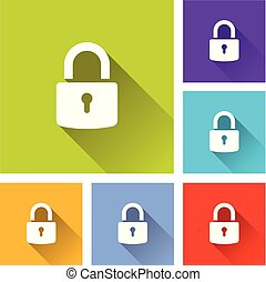 padlock icons with long shadow