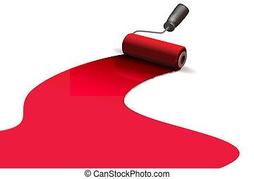 paint roller - illustration of paint roller on white...