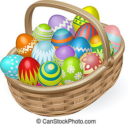 Illustration of basket of colourful painted Easter eggs