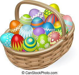 Illustration of painted Easter eggs - Illustration of basket...