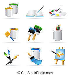 illustration of painting icons on white background