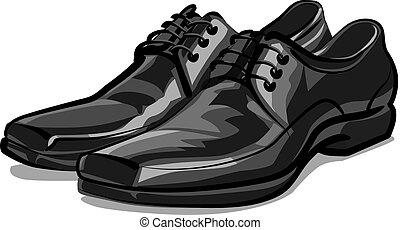 classic men shoes - illustration of pair of classic men...