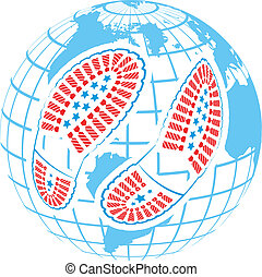 illustration of pair of foot prints around globe on abstract...