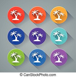 palm tree icons with various colors