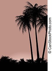 Illustration of palm trees against the sky.eps