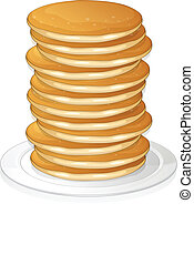 pancakes - illustration of pancakes in a dish on white ...