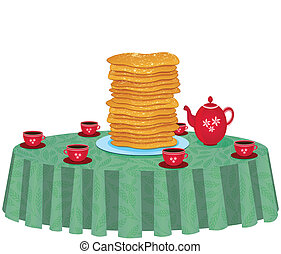 illustration of pancakes in a dish on white background