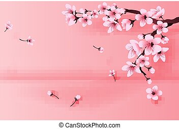 illustration of paper art and craft spring season landscape by cherry blossom concept, Springtime with sakura branch, Floral Cherry blossom with place text space background, Paper cut idea vector.