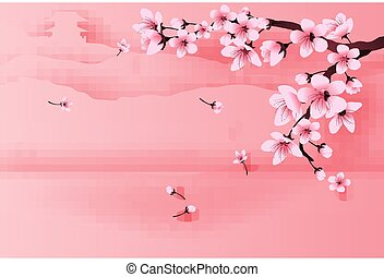illustration of paper art and craft spring season temple on mountain by cherry blossom concept, Springtime with sakura branch, Floral Cherry blossom with landscape place text space background, vector.