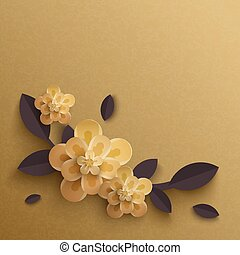 Illustration of paper flowers on a gold background.