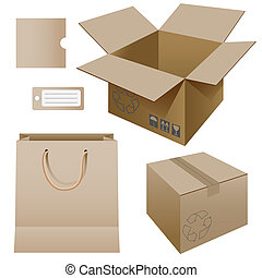 Illustration of paper packaging, set.