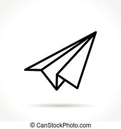 paper plane thin line icon - Illustration of paper plane ...