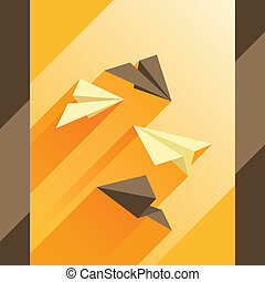 Illustration of paper planes in flat design style.