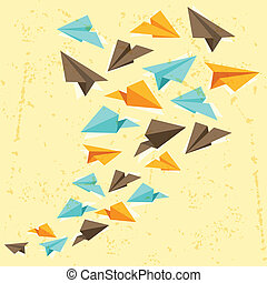 Illustration of paper planes on the grunge background.