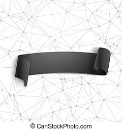 Paper Ribbon Banner on Wireframe Technology Background. ...