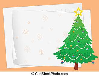 paper sheets and a christmas tree