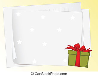 paper sheets and gift box