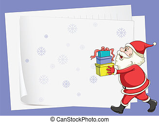 paper sheets and santa claus